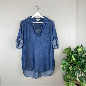 Cloth & Stone Tencel Chambray Button Tab Pullover
